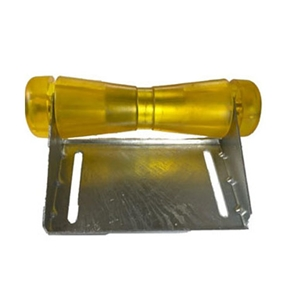 "Image - Extra Tall Keel Roller Bracket Assembly 10"" With Poly End Caps Yellow . Great For Sailboats & Flat Boats."
