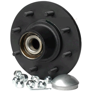 "Image - Trailer Hub, 1-3/4"" X 1-1/4"" Bearings, 8 X 6.5"" Bolt Pattern, Painted Finish, Pre-Greased."