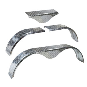 "Image - Tandem Trailer Fender, With Teardrop, 60"" - 72"" Adjustable Length, 9"" Width, 16"" Height, Aluminum Diamond Plate"