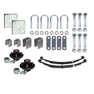 "Image - Trailer Axle Suspension Kit For 1-3/4"" Round Tube Axles (Includes 4 X 4 Hubs)"