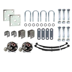 "Image - Trailer Axle Suspension Kit For 2-3/8"" Round Tube Axles (Single Axle, Includes 1-3/8"" X 1-1/16"" Hubs)"