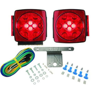 "Image - Tail Light Kit, Square, Submersible, And Led. Approved For Trailers Under 80"". Blazer W/ Reverse Light"