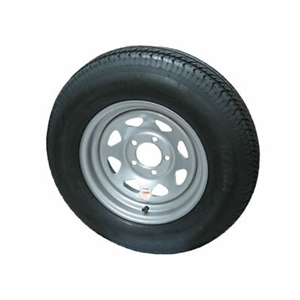 "Image - St205/75 14"" 6-Ply 5-Lug Silver Painted Spoke. Bias Trailer Tire Load Star Brand"