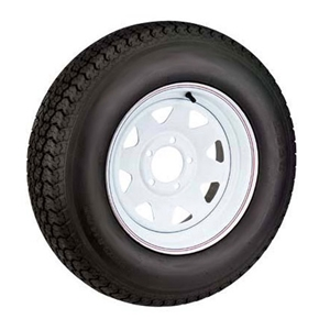 "Image - St185/80 13"" 8-Ply 5-Lug White Painted Spoke. Radial Trailer Tire Karrier Brand"